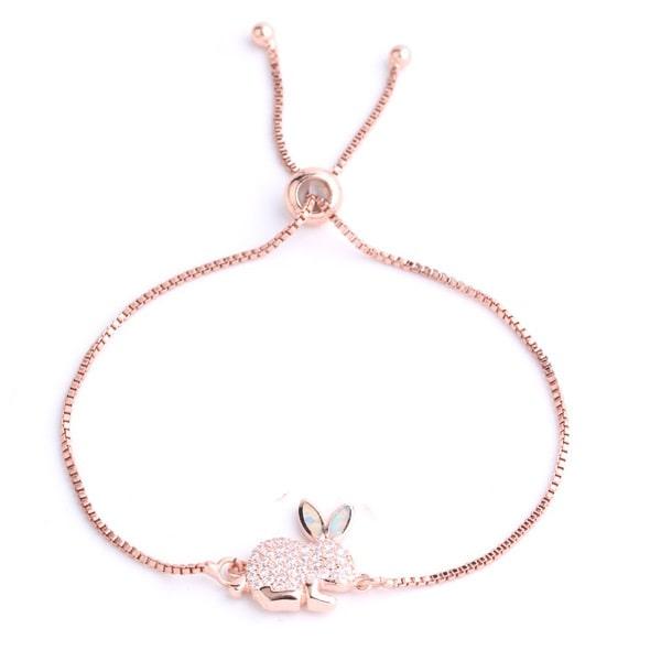 Beau bracelet lapin rose à strass, animal totem