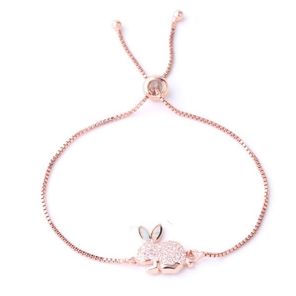 Beau bracelet lapin rose à strass