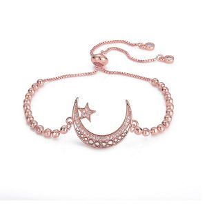Beau bracelet lune rose