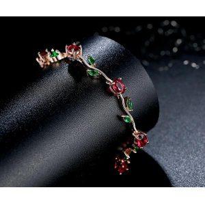 Bracelet avec des roses et feuille