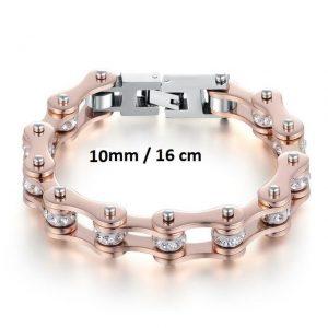 Bracelet chaine de moto rose 10 mm de 16 cm