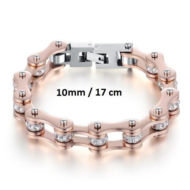 Bracelet chaine de moto rose 10 mm de 17 cm