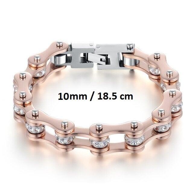 Bracelet chaine de moto rose 10 mm de 18.5 cm