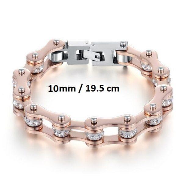 Bracelet chaine de moto rose 10 mm de 19.5 cm