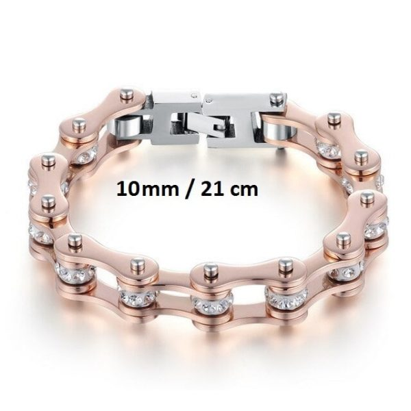 Bracelet chaine de moto rose 10 mm de 21 cm