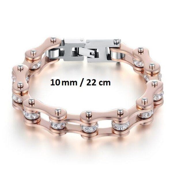 Bracelet chaine de moto rose 10 mm de 22 cm