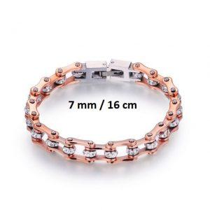 Bracelet chaine de moto rose 7 mm de 16 cm