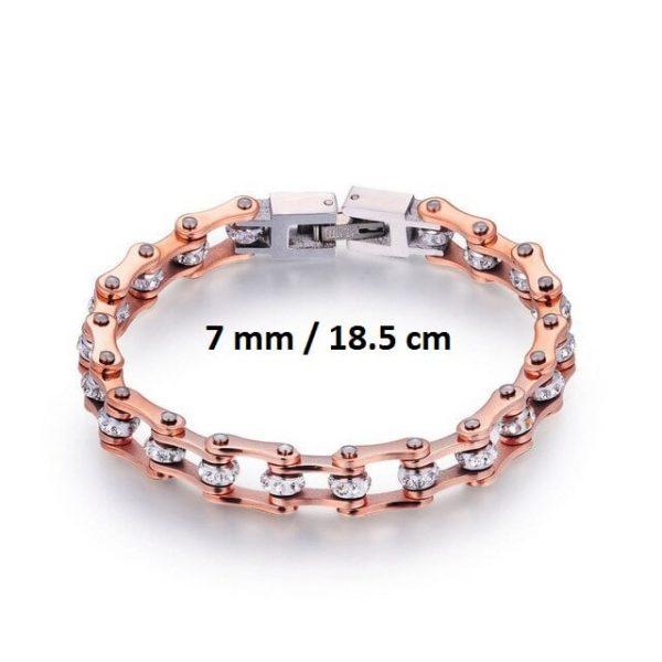 Bracelet chaine de moto rose 7 mm de 18.5 cm
