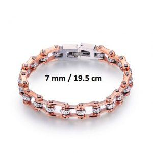 Bracelet chaine de moto rose 7 mm de 19.5 cm