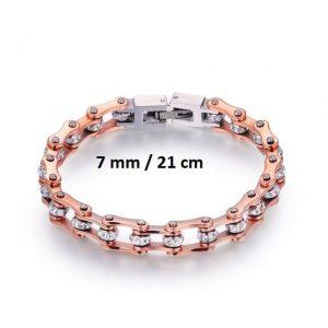 Bracelet chaine de moto rose 7 mm de 21 cm