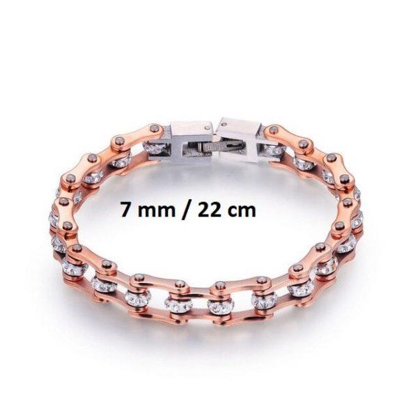 Bracelet chaine de moto rose 7 mm de 22 cm