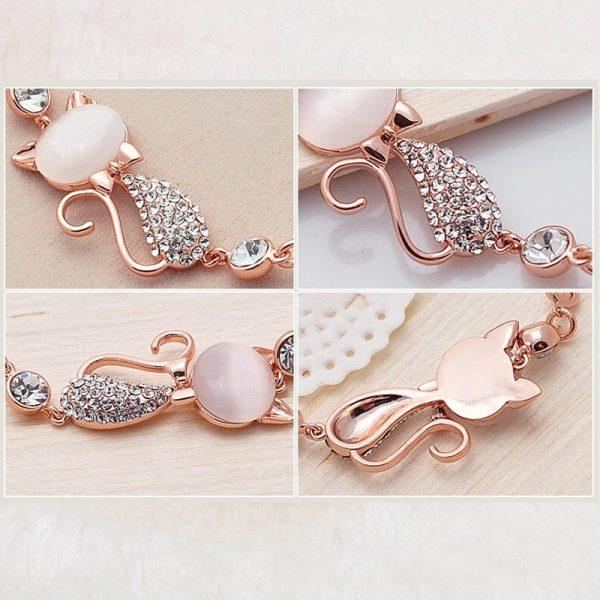 Bracelet chat rose en détail