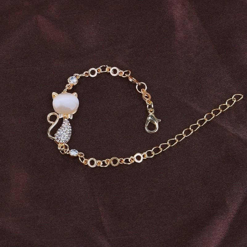 Bracelet chat rose, pour amoureux des chats