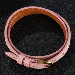 Bracelet cuir rose, boucle dorée