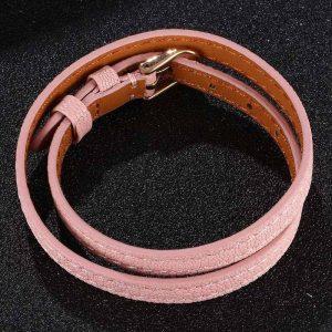 Bracelet cuir rose, style féminin