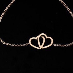 Bracelet double coeur rose, amour