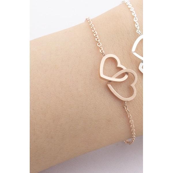 Bracelet double coeur rose, bijoux coeurs