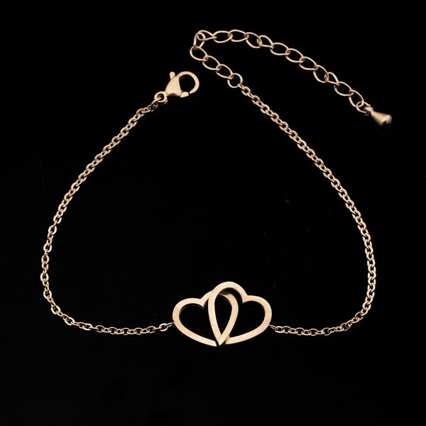 Bracelet double coeur rose