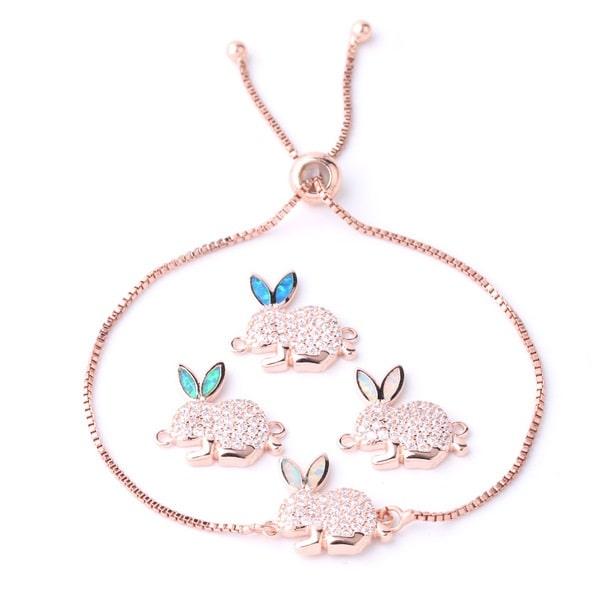 Bracelet lapin rose à strass
