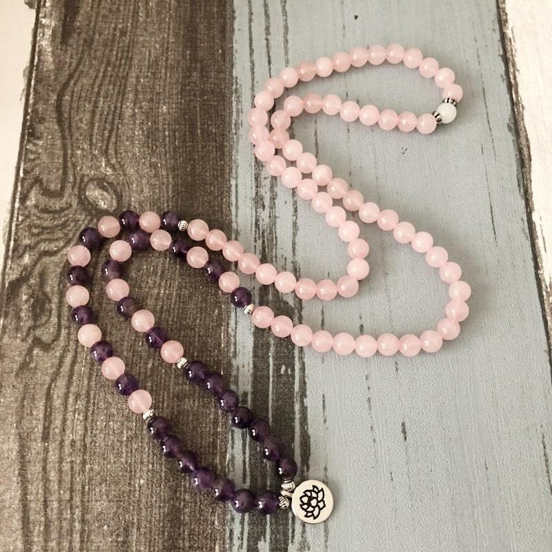 Bracelet mala quartz rose et améthyste