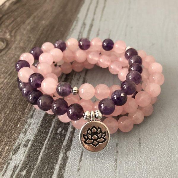 Bracelet quartz rose et améthyste lotus