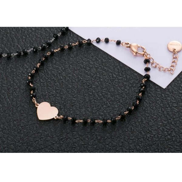Bracelet rose coeur à perles