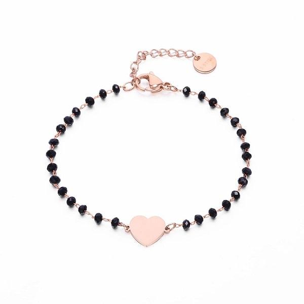 Bracelet rose coeur à perles noires