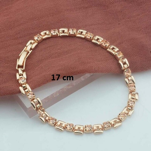 Bracelet rose gold pas cher Champagne 17 cm