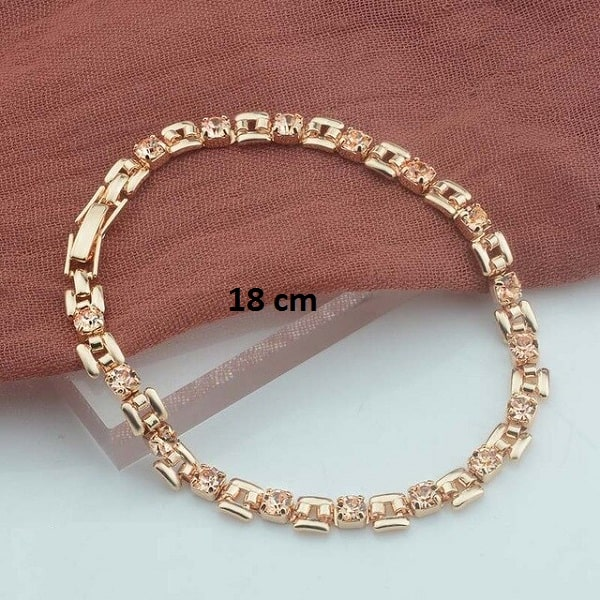 Bracelet rose gold pas cher Champagne 18 cm