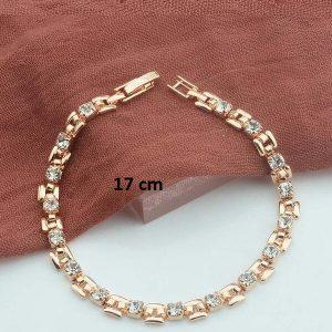 Bracelet rose gold pas cher blanc 17 cm