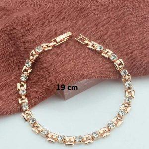 Bracelet rose gold pas cher blanc 19 cm