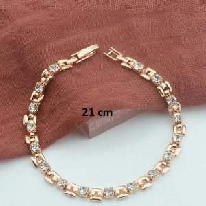 Bracelet rose gold pas cher blanc 21 cm