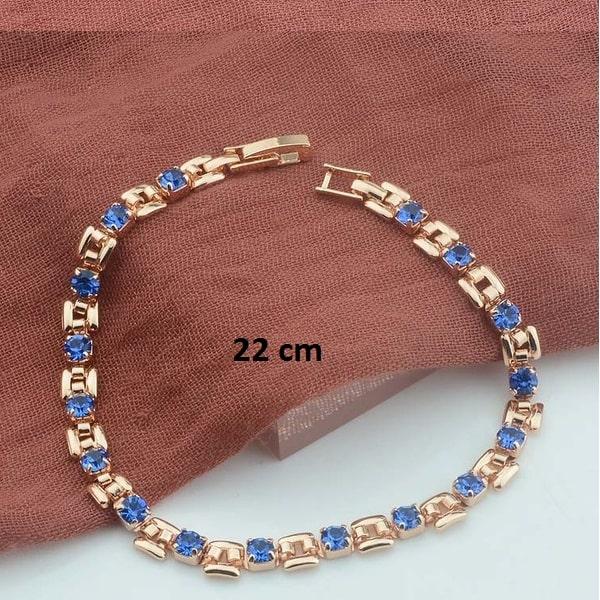 Bracelet rose gold pas cher bleu 22 cm