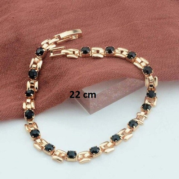 Bracelet rose gold pas cher noir 22 cm