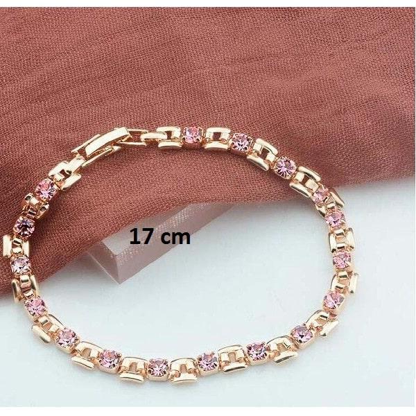 Bracelet rose gold pas cher rose 17 cm