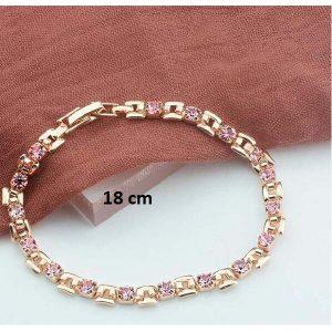 Bracelet rose gold pas cher rose 18 cm