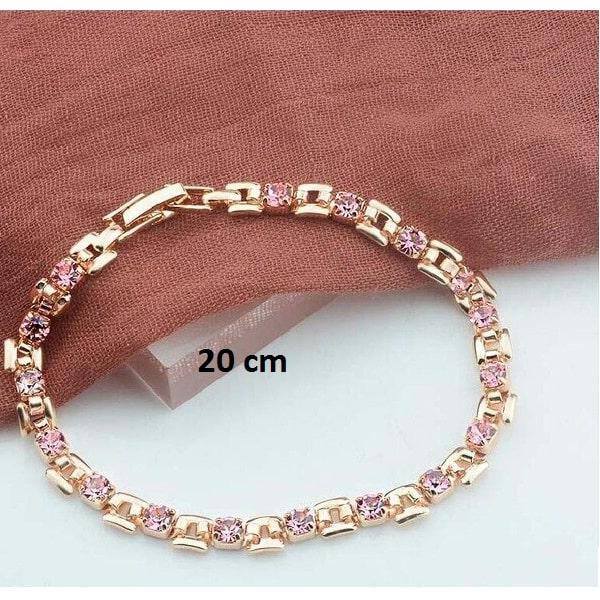 Bracelet rose gold pas cher rose 20 cm