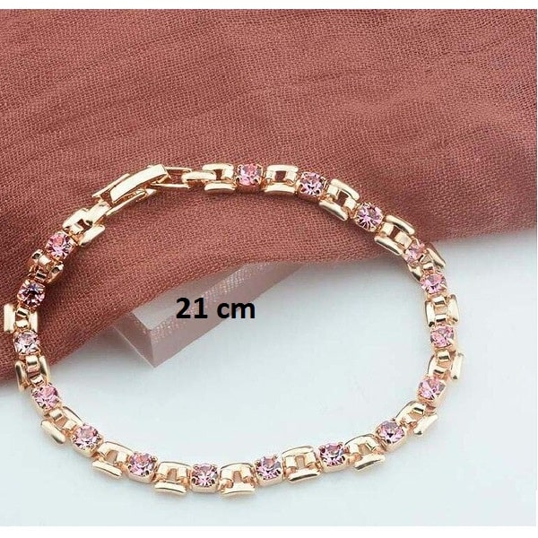 Bracelet rose gold pas cher rose 21 cm
