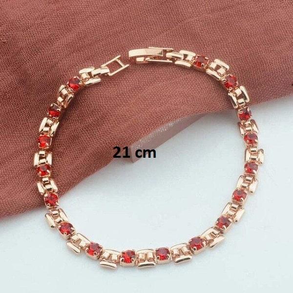 Bracelet rose gold pas cher rouge 21 cm