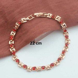 Bracelet rose gold pas cher rouge 22 cm