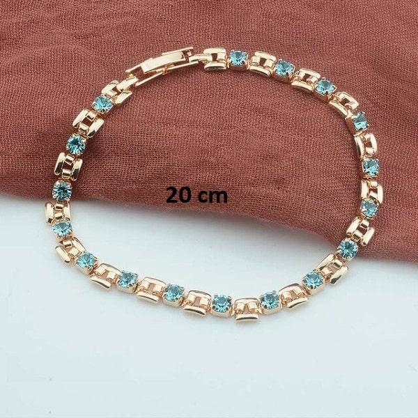 Bracelet rose gold pas cher turquoise 20 cm