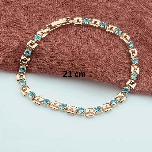 Bracelet rose gold pas cher turquoise 21 cm