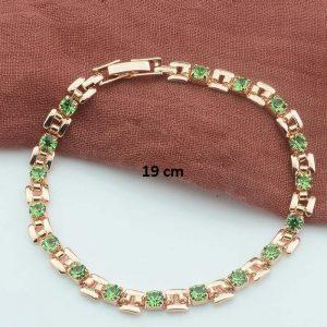 Bracelet rose gold pas cher vert 19 cm