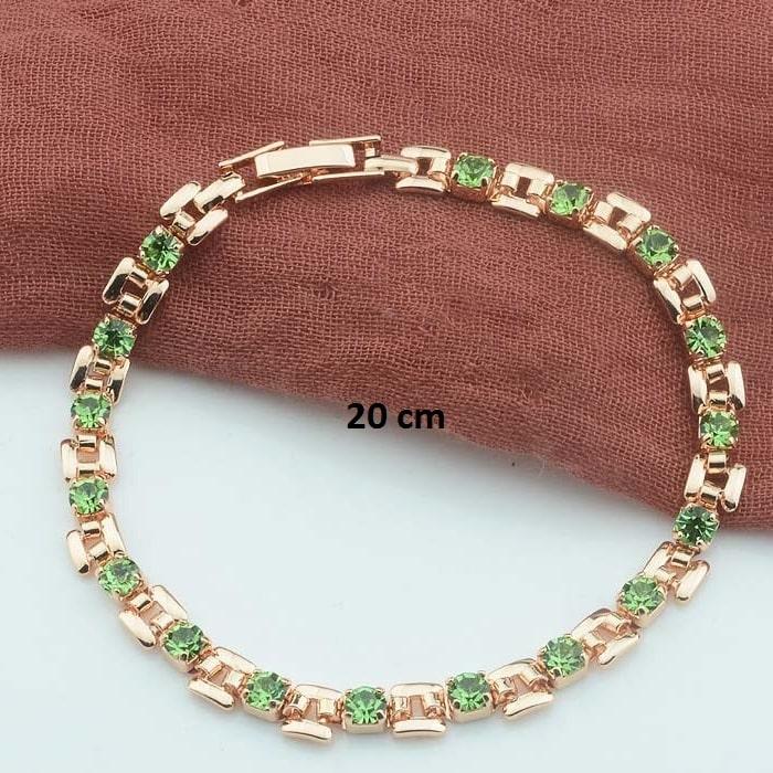Bracelet rose gold pas cher vert 20 cm