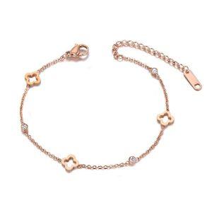 Bracelet rose pas cher avec chaine fine