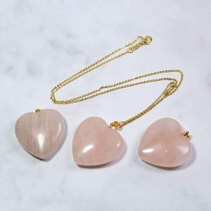 Collier à pendentif quartz rose coeur