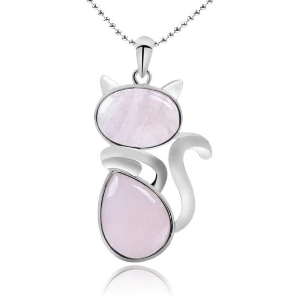 Collier chat rose quartz