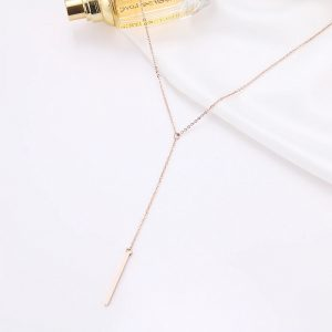 Collier long baton rose gold