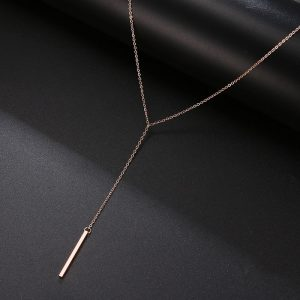 Collier long baton rose gold pour femme