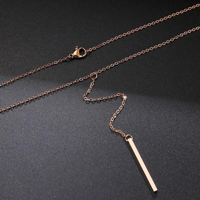 Collier long baton rose gold pour femme et fille